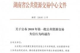 湖南省公共资源交易中心公布2018年首批失信黑名单