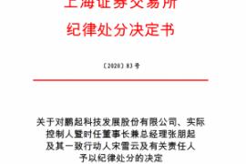 上海证券交易所对鹏起科技发展股份有限公司、实际 控制人暨时任董事长兼总经理张朋起 及其一致行动人宋雪云及有关责任人 予以纪律处分的决定