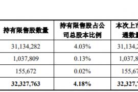 丽尚国潮32,327,763股限售股上市流通,占公司总股本的4.18%
